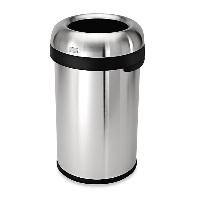 Alternate image 1 for simplehuman® Brushed Stainless Steel Bullet Open 80-Liter Trash Can