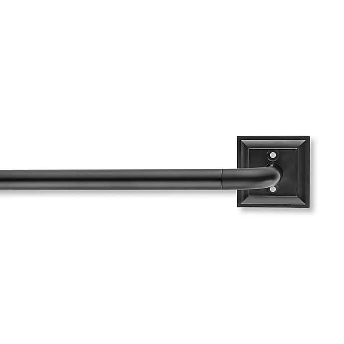 Alternate image 1 for Cambria® Blockout Square Plate Adjustable Curtain Rod Set in Black