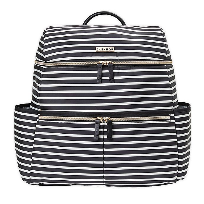 Alternate image 1 for SKIP*HOP® Flatiron Striped Diaper Backpack in Black/White