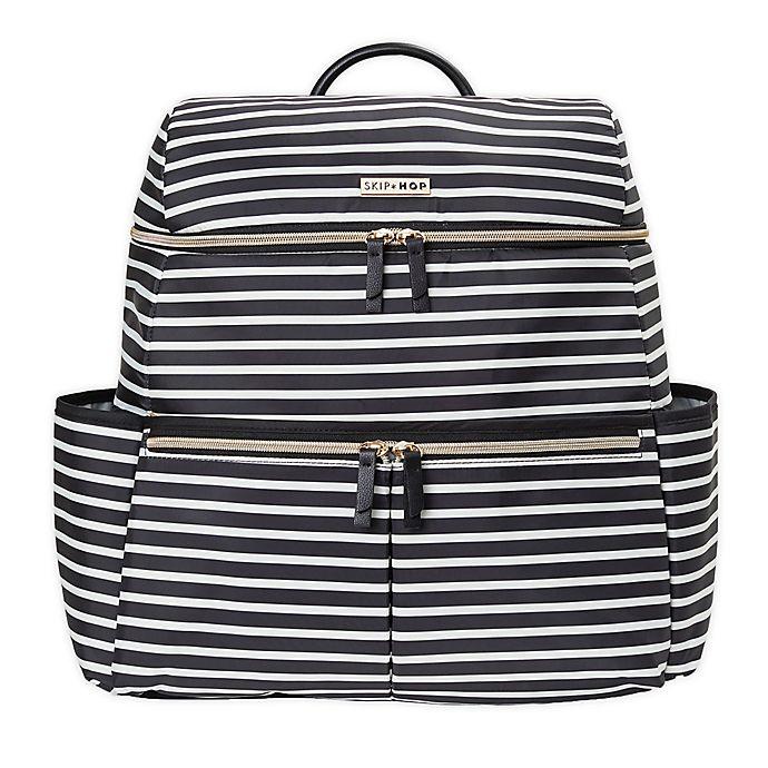 Alternate image 1 for SKIP*HOP® Flatiron Striped Diaper Backpack in Black/White