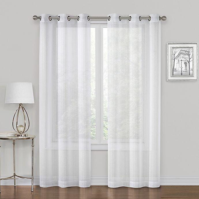 Alternate image 1 for SALT™ Metallic 2-Pack 63-Inch Grommet Sheer Window Curtain in White