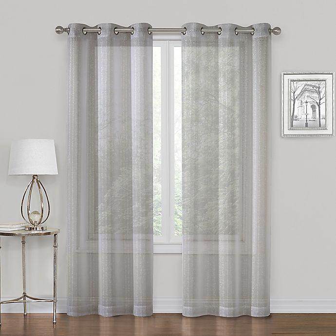 Alternate image 1 for SALT™ Metallic  63-Inch Grommet Sheer Window Curtain  in Gray  (Set of 2)