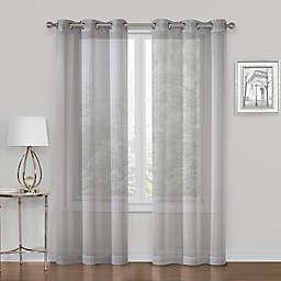 SALT™ Metallic  63-Inch Grommet Sheer Window Curtain  in Gray  (Set of 2)