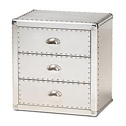 Baxton Studio Henri 3-Drawer Nightstand in Silver