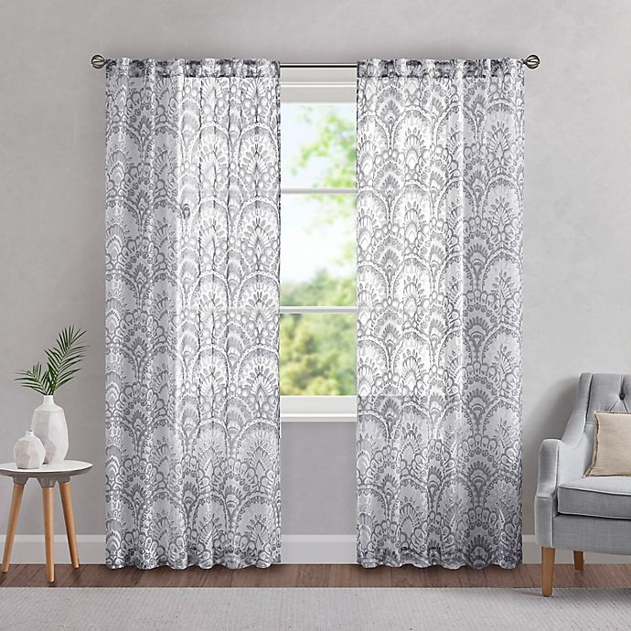Alternate image 1 for Madison Park Tabitha 95-Inch Rod Pocket/Back Tab Light Filtering Window Curtain Panel in Grey