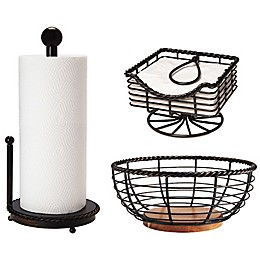 Gourmet Basics by Mikasa® Rope Kitchen Basket and Accessory Collection in Black