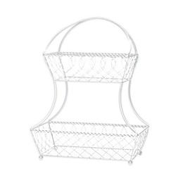 Gourmet Basics by Mikasa® Carbon Steel 2-Tier Fruit Basket in White