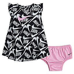 Nike® 2-Piece Dri-FIT Dress and Diaper Cover Set in Black