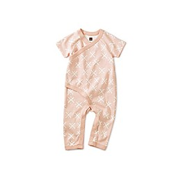 Tea Collection Soft Geo Short Sleeve Wrap Romper in Pink