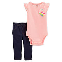 carter's® 2-Piece Striped Rainbow Bodysuit and Pant Set in Pink