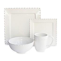American Atelier Bianca Bead 16-Piece Square Dinnerware Set