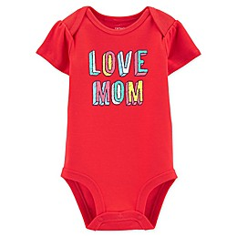 "carter's® ""Love Mom"" Short Sleeve Bodysuit in Red"