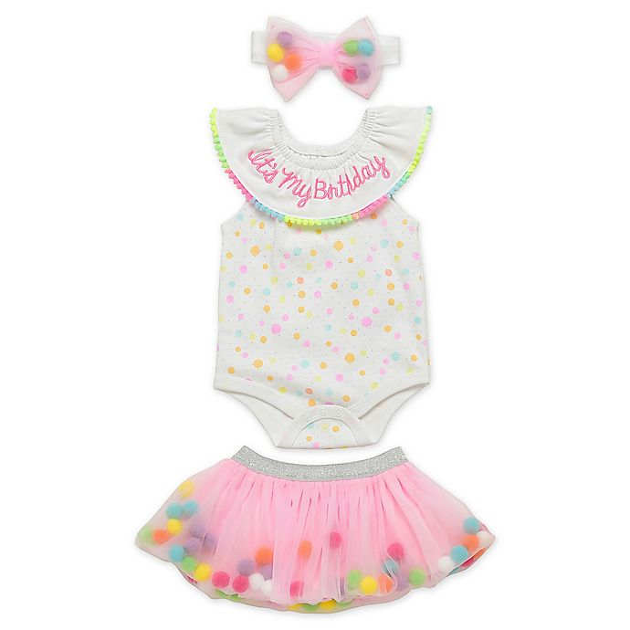Alternate image 1 for Start Up Kids® 3-Piece Let's Celebrate Birthday Bodysuit, Tutu and Headband Set