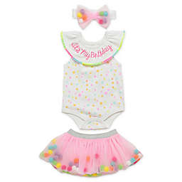 Start Up Kids® 3-Piece Let's Celebrate Birthday Bodysuit, Tutu and Headband Set