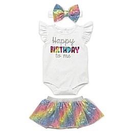 Start Up Kids® 3-Piece Let's Celebrate Happy Birthday Bodysuit, Tutu, Headband Set