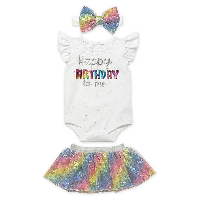 Alternate image 1 for Start Up Kids® 3-Piece Let's Celebrate Happy Birthday Bodysuit, Tutu, Headband Set