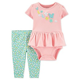 carter's® 2-Piece Peplum Bodysuit and Pant Set in Pink