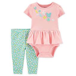 carter's® 2-Piece Peplum Bodysuit and Pant Set in Pink