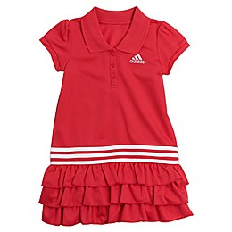 adidas® Polo Dress with Tennis Ruffle in Fresh Pink