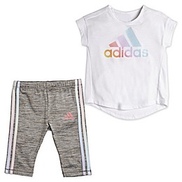 adidas® 2-Piece Iridescence Top and Capri Tight Set in White