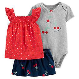 carter's® 3-Piece Cherry Top, Bodysuit, and Skirt Set