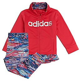 adidas® Jacket and Printed Tight Set in Fresh Pink