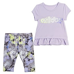 adidas® Power Top and Capri Tight Set in Purple