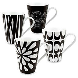 Konitz Black and White Mugs by Jessica Flick (Set of 4)
