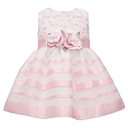 Bonnie Baby Embroidered Stripe Dress in Pink