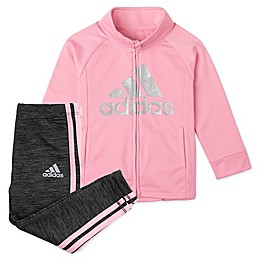 adidas® 2-Piece Tricot Ruffle Jacket and Tight Set in Light Pink