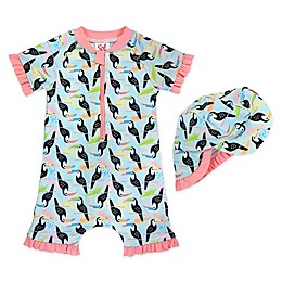 Sol Swim® 2-Piece Baby Toucans Rash Guard and Hat Set