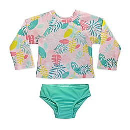 Sol Swim® 2-Piece Floral Long Sleeve Toddler Rashguard and Swimsuit Set