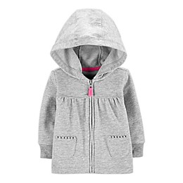 carter's® French Terry Zip Front Hoodie in Heather