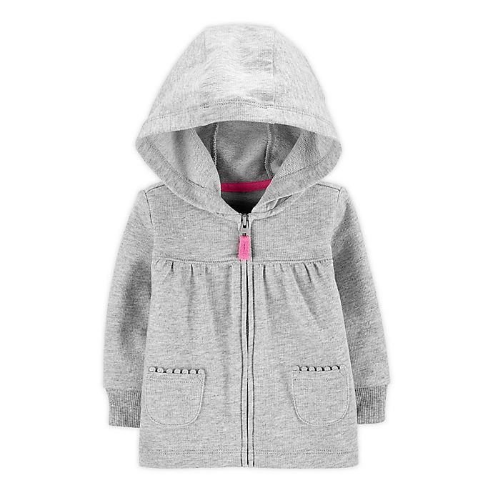 Alternate image 1 for carter's® French Terry Zip Front Hoodie in Heather