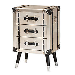 Baxton Studio Hank Antique 3-Drawer Nightstand in Silver