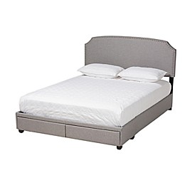 Baxton Studio® Shura Upholstered Platform Bed with Storage