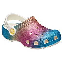 Crocs™ Kids' Crockband™ Ombre Rainbow Glitter Clogs in Oyster