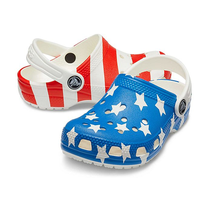 Alternate image 1 for Crocs™ Kids' Classic Americana Clogs in White