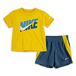 Nike® 2-Piece Sport Dri-FIT Toddler Shirt and Short Set in Yellow/Turquoise
