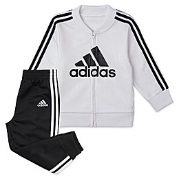 adidas Embossed Trico Tracksuit in Black/White