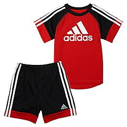 adidas® 2-Piece Urban Sport Raglan Tech Top and Short Set in Scarlet