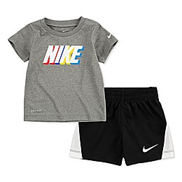 Nike® 2-Piece Block Logo Short Set in Grey/Black