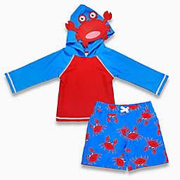 sol swim® 2-Piece Not So Crabby Hooded Rashguard Set in Blue