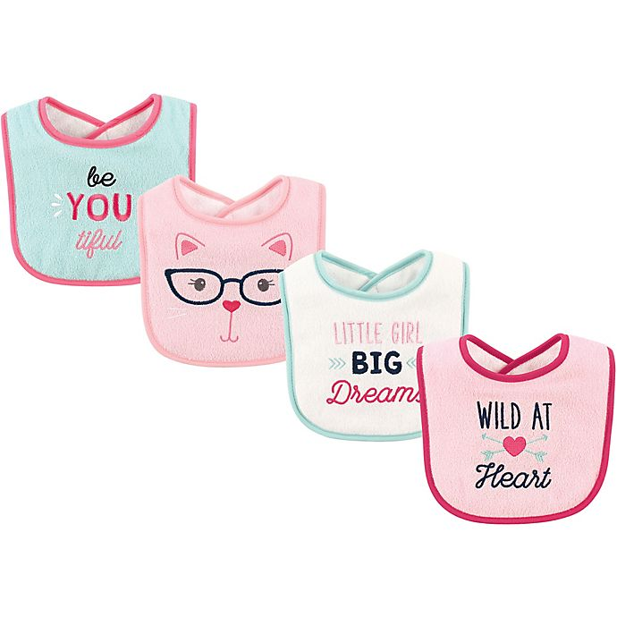 Alternate image 1 for Luvable Friends® 4-Pack Wild at Heart Bibs in Pink