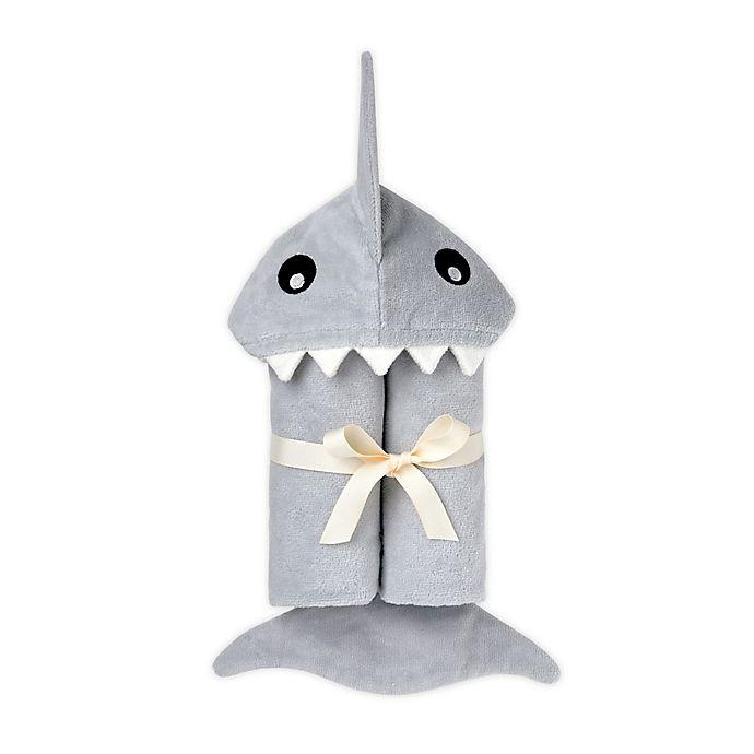Alternate image 1 for Elegant Baby® Shark Hooded Towel in Grey