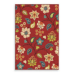 Aria Rugs Veranda Garden Chintz Indoor/Outdoor Rug in Red