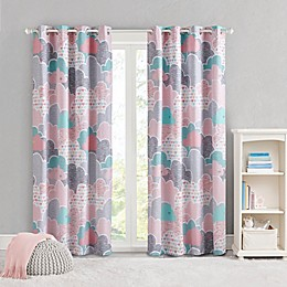 UHK Cloud Grommet Blackout Window Curtain Panel in Pink