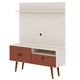 Sophia 53.94-Inch TV Stand with Panel in Off-White/Orange Pink