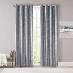 SunSmart Taylor Diamond Jacquard 100% Blackout 95-Inch Curtain Panel in Charcoal (Single)