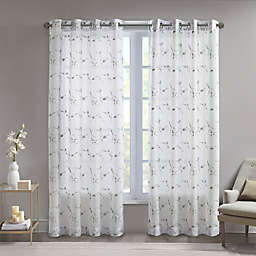 Madison Park Meredith 95-Inch Grommet Light Filtering Window Curtain Panel in Natural